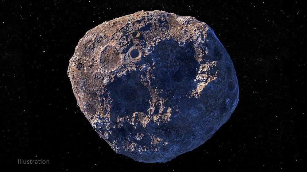 Ilustração do Asteroide Psyche. Créditos. Nasa.JPL.Caltech.ASU