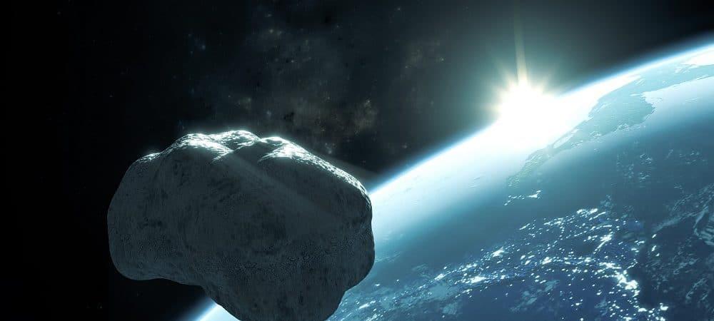 Ilustração de asteroide passando pela Terra