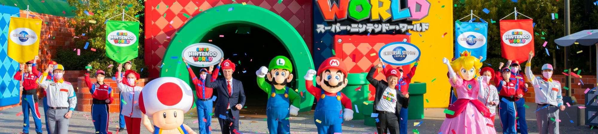 Atração Super Nintendo World é inaugurada no Japão e contou com a presença de Mario e Luigi.