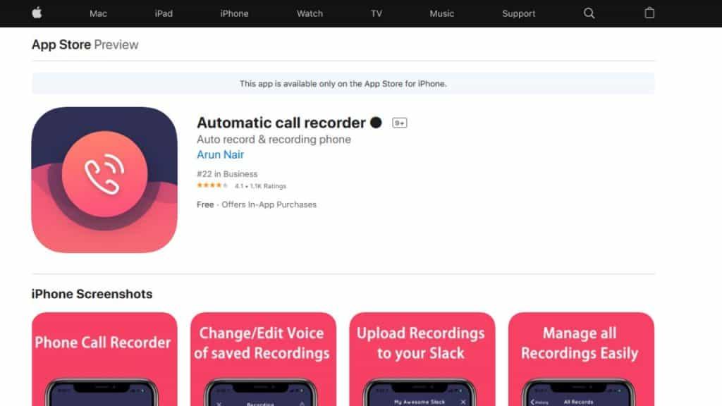 """Captura da página do """"Automatic Call Recorder"""", app de gravação de chamadas para usuários do iOS"""