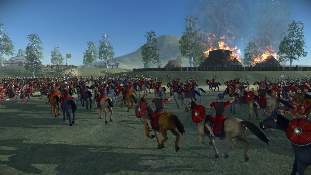 Cavalaria romana avança sobre os gauleses em 'Total War: Rome Remastered'. Imagem: Creative Assembly/Divulgação