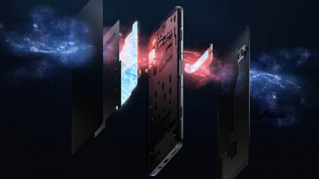 Ilustração do sistema de resfriamento dos smartphones Black Shark 4 e 4 Pro