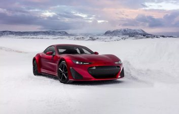 Freezing fun: American electric supercar drifts on frozen lake