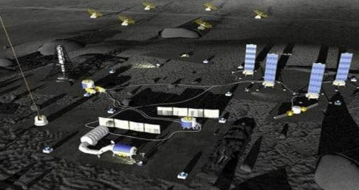 Ilustração de um estágio inicial da ILRS na superfície da Lua. Imagem: CAST (China Association for Science and Technology)