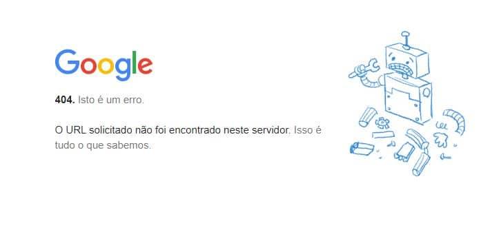 Página de Chrome rota