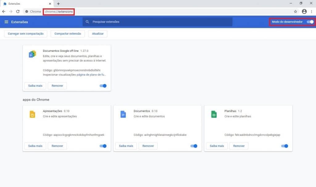Configuración de extensiones de Chrome