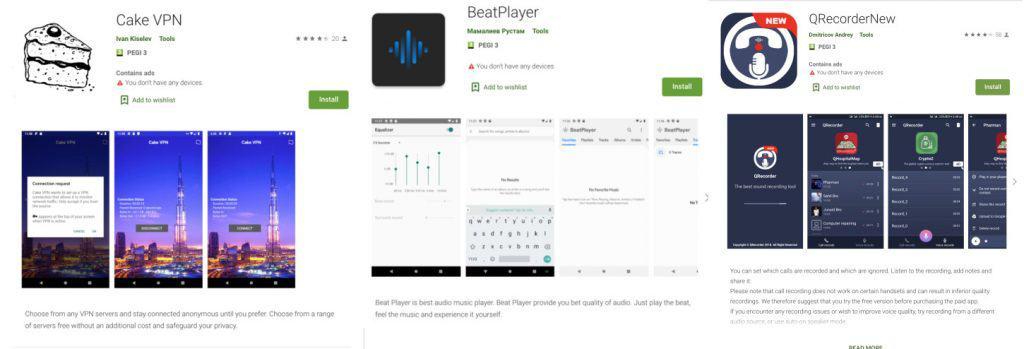 Listagens na Play Store de três dos apps infectados com o Clast82.