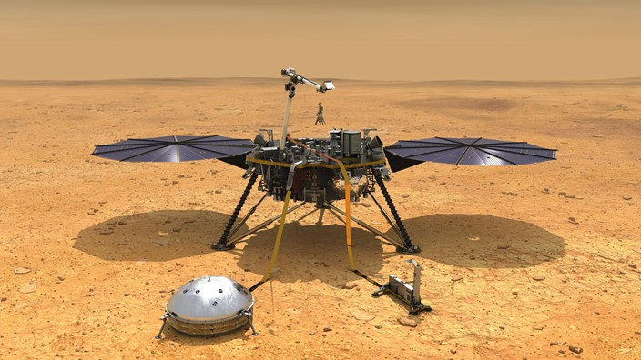Em solo marciano desde 2018, a InSight analisa as ondas sísmicas do planeta vermelho. Imagem: Nasa/Divulgação