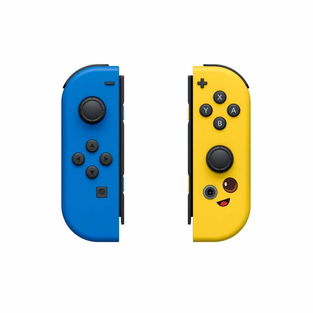 """Imagem mostra os Joy-Cons baseados em """"Fortnite"""", que a Nintendo vai lançar em parceria com a Epic Games. De um lado, um controle azul, enquanto o outro tem cor amarela e um emoji de adesivo"""