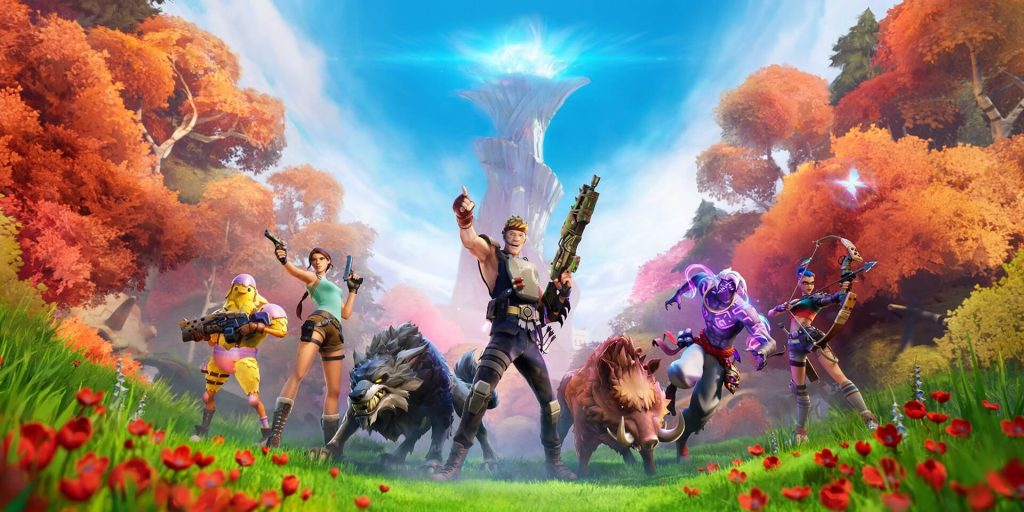 Os novos personagens de 'Fortnite', incluindo Lara Croft e Ravena. Imagem: Epic Games/Divulgação