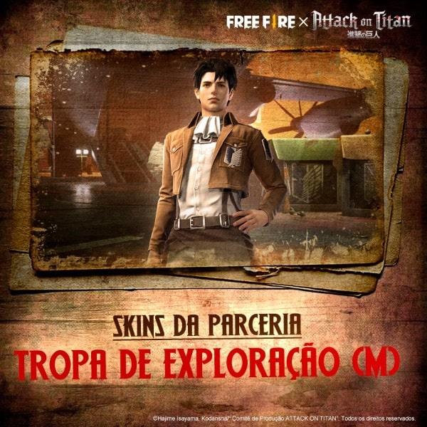 Principal recompensa do 'Free Fire' com 'Attack on Titan' é a versão masculina do pacote Tropa de Exploração. Imagem: Garena/Divulgação