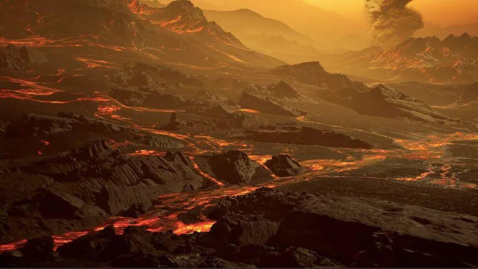 Ilustração imagina como seria a superfície de Gliese 486 b. Temperatura é próxima da de Vênus