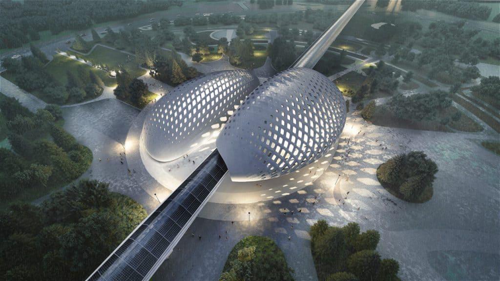Ilustração do exterior de uma estação da Hyperloop TT