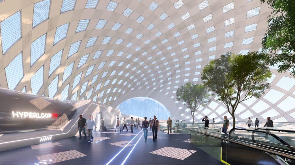Ilustração mostra o interior de uma estação da Hyperloop TT