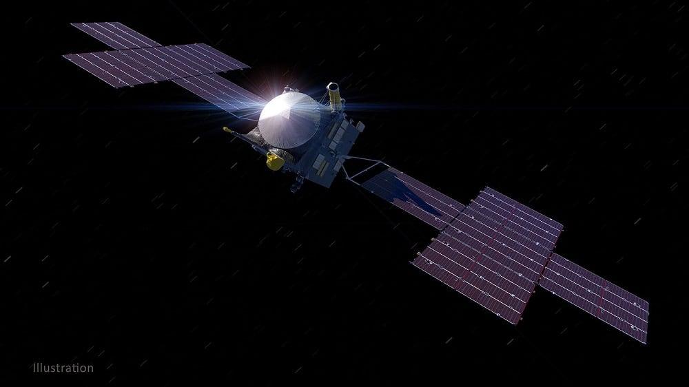 Ilustração da nave Psyche. Créditos. Nasa/JPL-Caltech/ASU