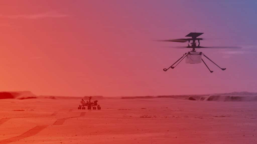 Ilustração imagina o primeiro voo do helicóptero Ingenuity na superfície de Marte