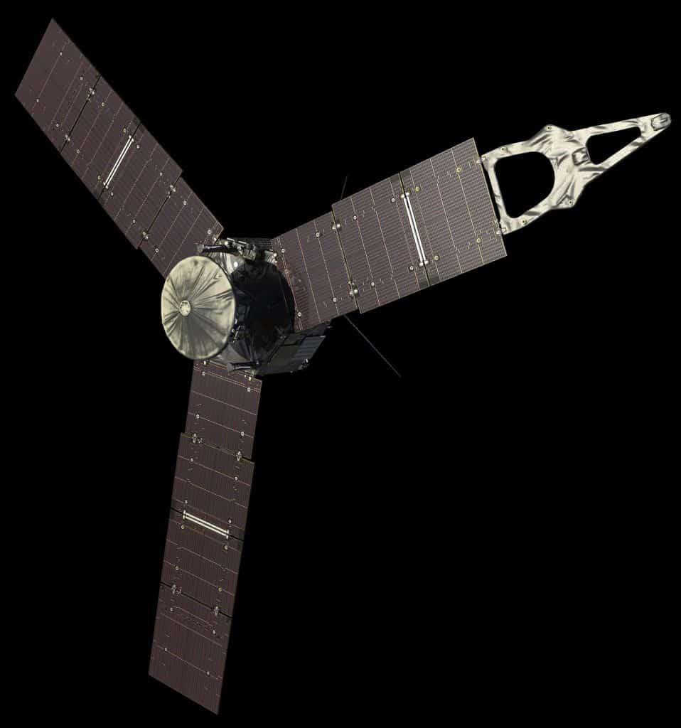 Imagem da sonda Juno, atualmente em órbita de Júpiter. Partículas de poeira foram detectadas quando colidiram com os painéis solares da espaçonave