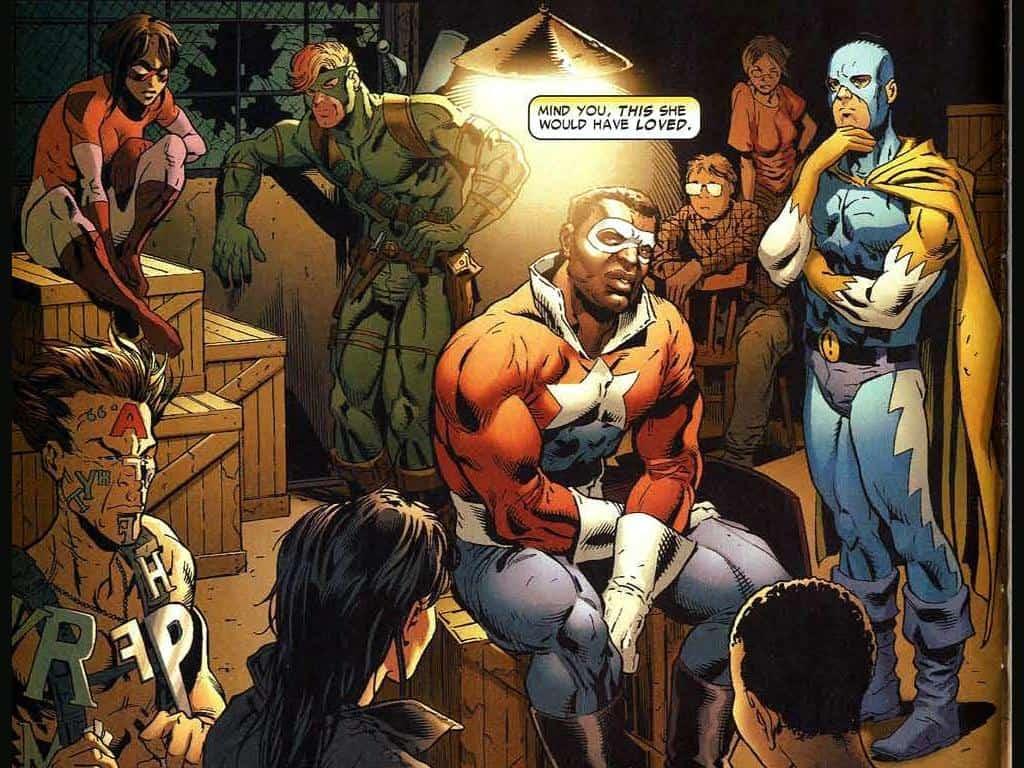Lemar Hoskins como Estrela Negra (ou Battlestar) no time anti-Registro em Guerra Civil. Imagem: Marvel Comics/Reprodução