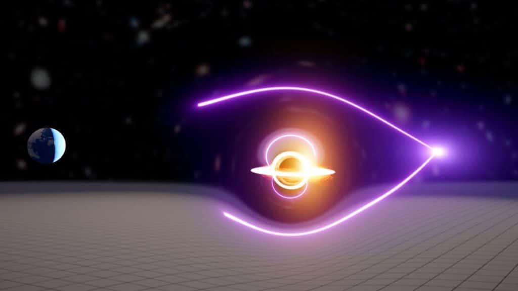 """Exemplo de como um buraco negro distorce a luz de uma explosão de raios-gama, gerando uma """"lente gravitacional"""""""