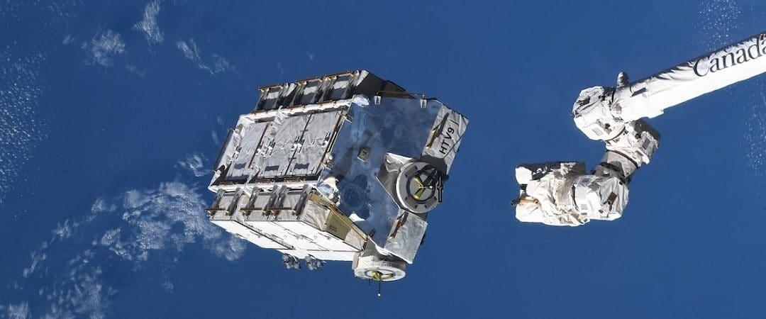 Space junk pallet taking off from the ISS