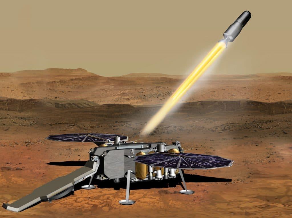 Illustration of the MAPS takeoff on the Mars Sample Return mission