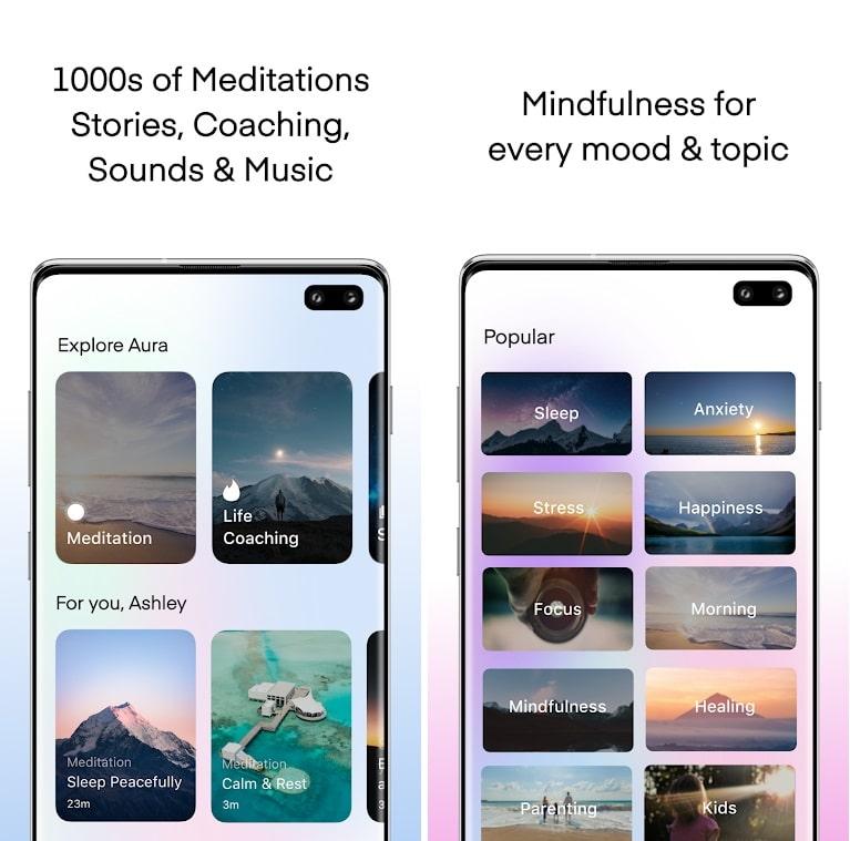 Screenshots do aplicativo de meditação Aura