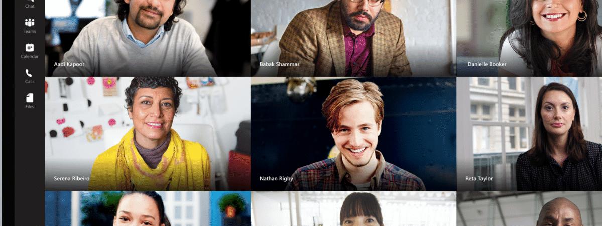 Exemplo de videoconferência no Microsoft Teams