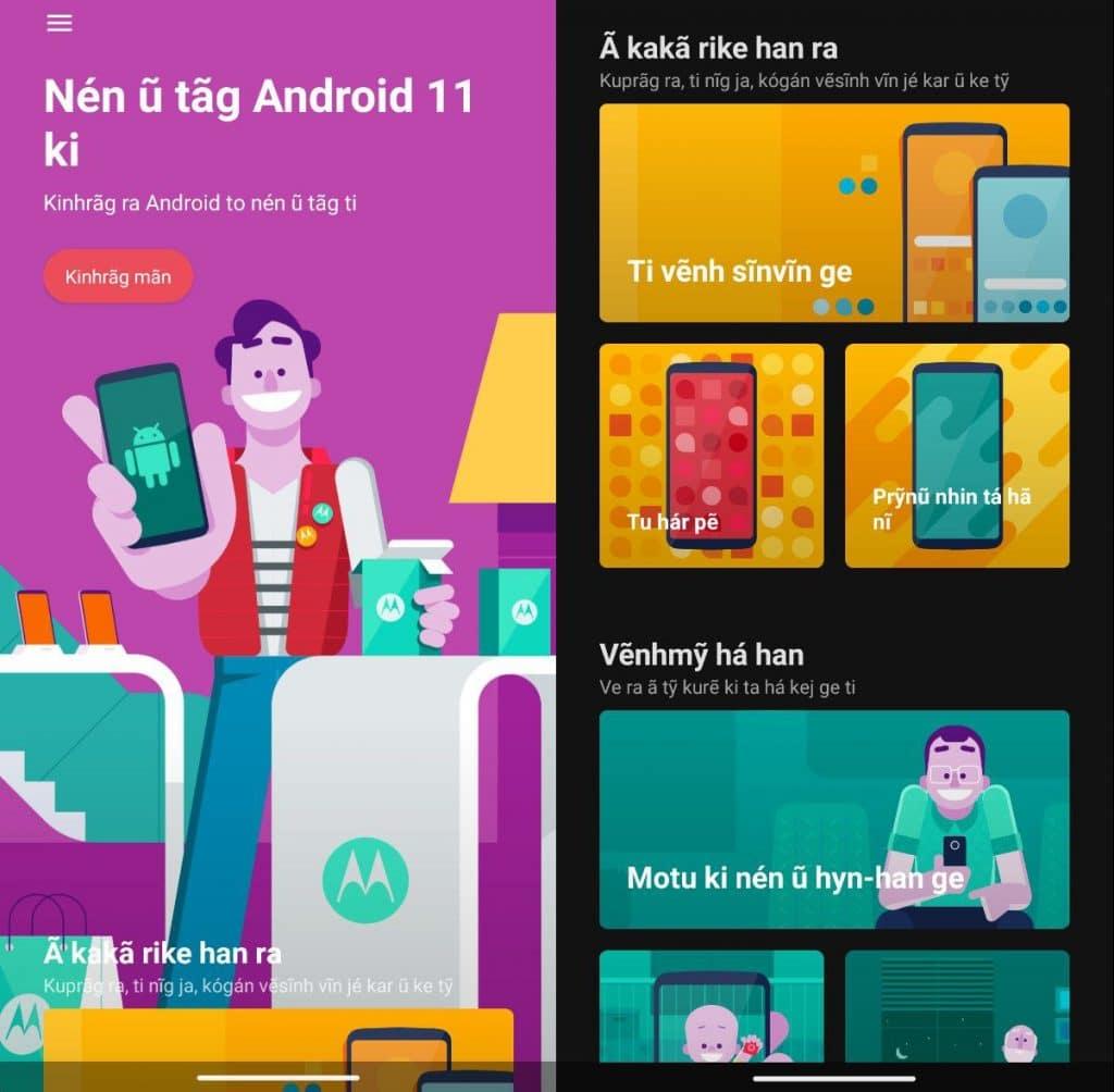 Telas ilustrando a interface de um smartphone Motorola no idioma Kaingang.
