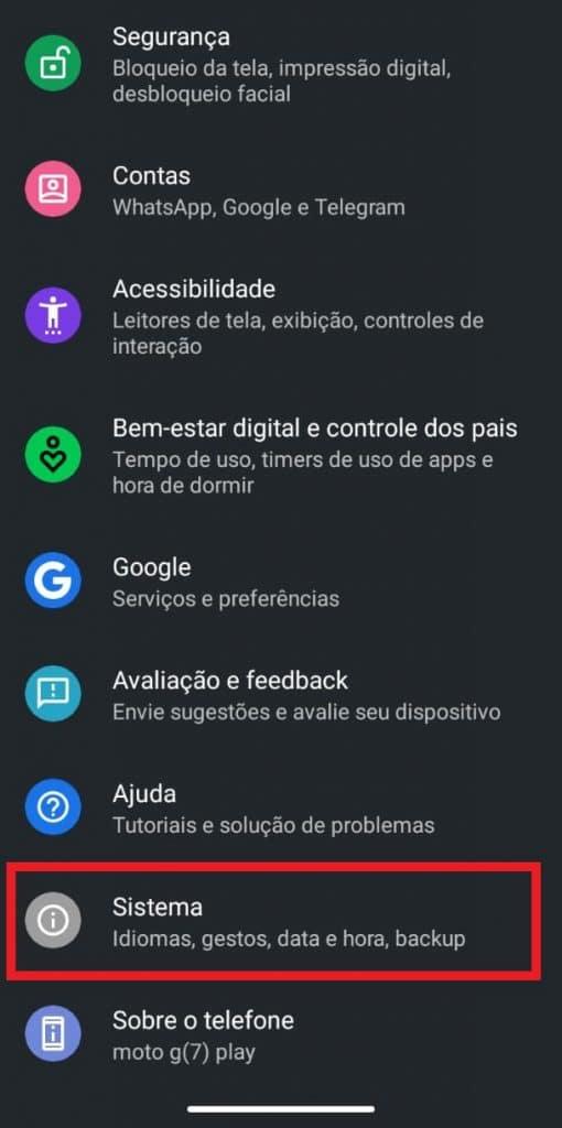 Print do celular Motorola G7 Play