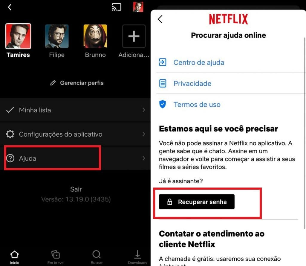 Como mudar a senha da Netflix pelo celular. Imagem: Olhar Digital