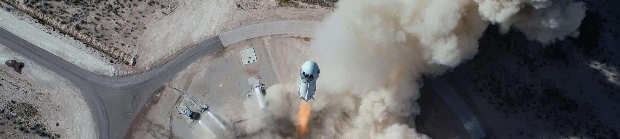 Decolagem da missão NS-14 do New Shepard da base de lançamento da Blue Origin no Oeste do Texas
