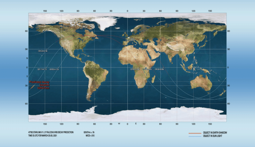 Re-entry forecast calculated for 23:07 (02:07 universal time) - Credits: Joseph Remis