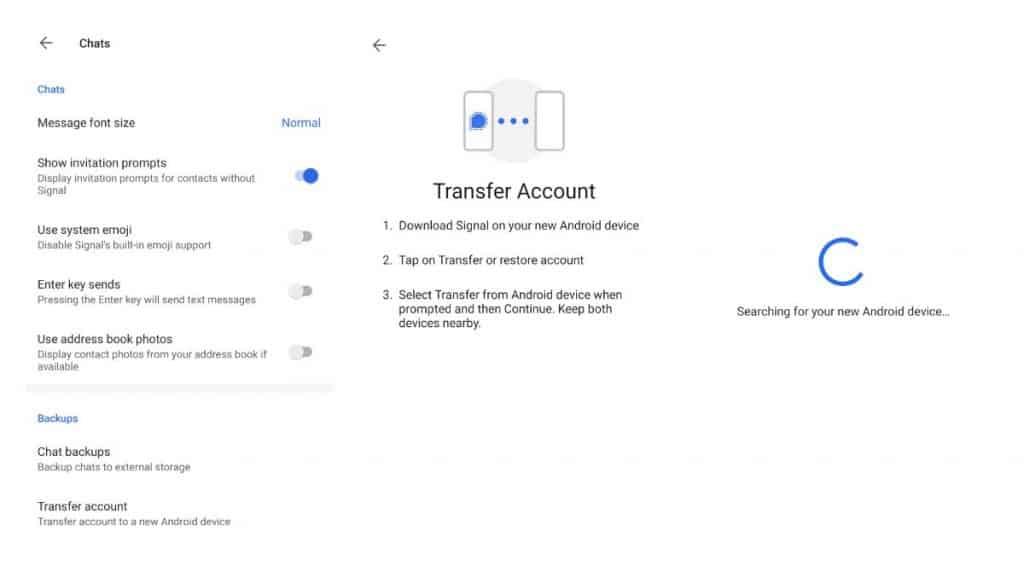 Ferramenta para transferência de contas no Signal