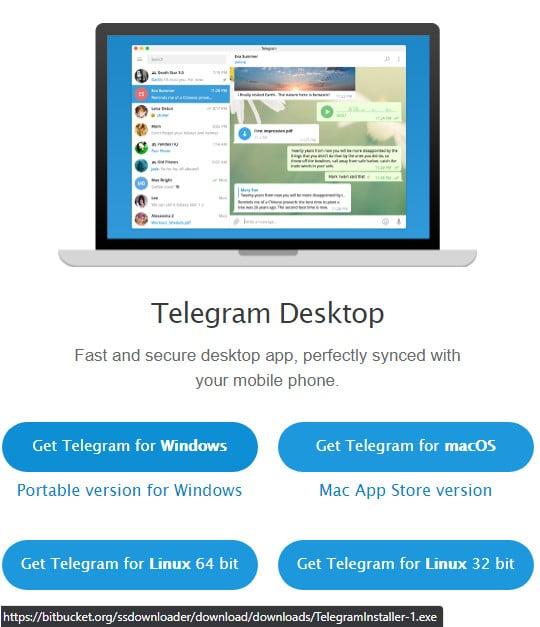 Imagem mostra site falso para download do Telegram. A URL no rodapé leva para um executável malicioso (malware) em site de terceiros.