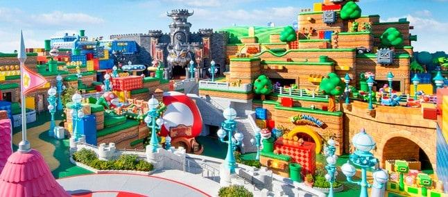 Visão panorâmica do Super Nintendo World, atração dos parques da Universal no Japão. Imagem: Nintendo/Divulgação