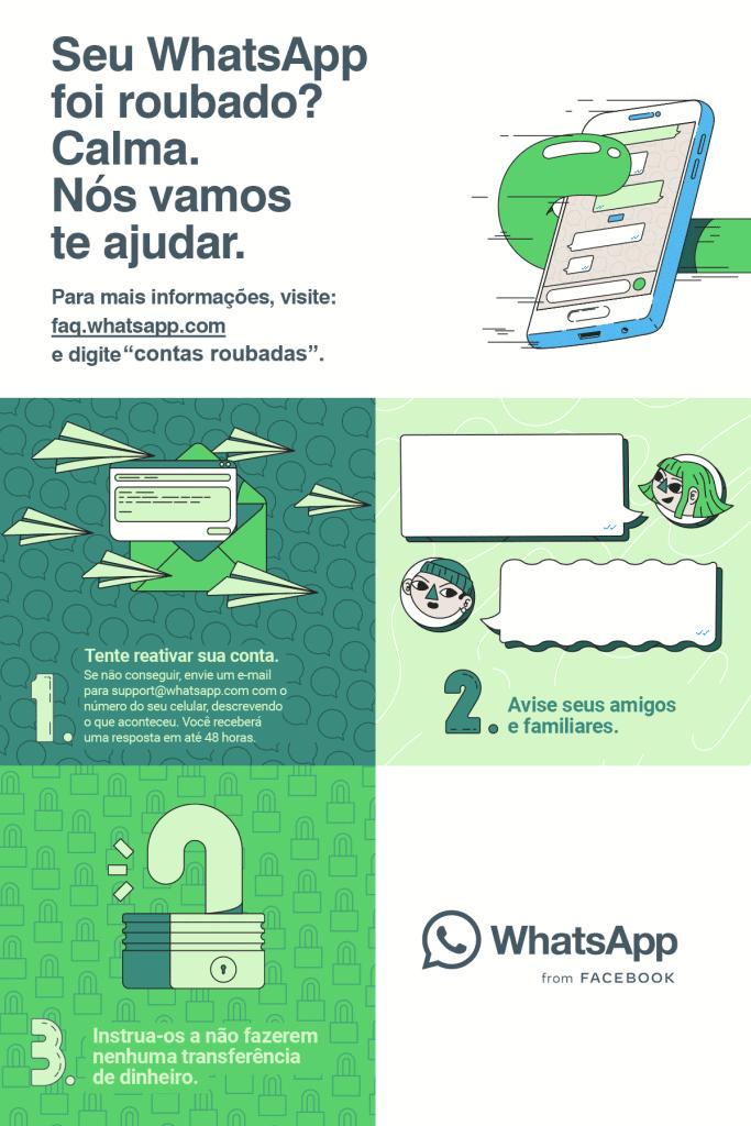 Campanha do WhatsApp ensina a evitar golpes, além do que fazer se você for uma vítima. Imagem: WhatsApp