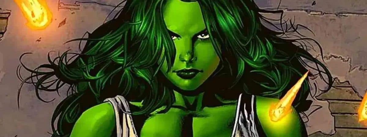 Mulher-Hulk, exibida em formato de quadrinhos