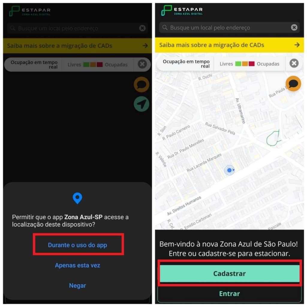 Impresión de la aplicación digital Estapar Zona Azul