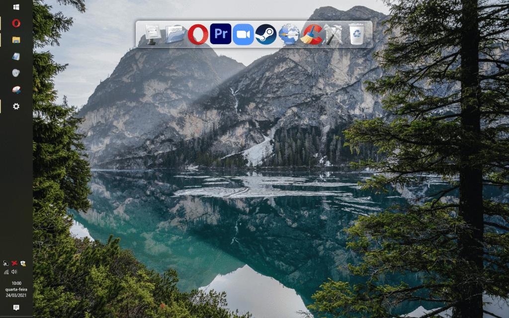 Teste com a barra de tarefas na lateral esquerda da tela