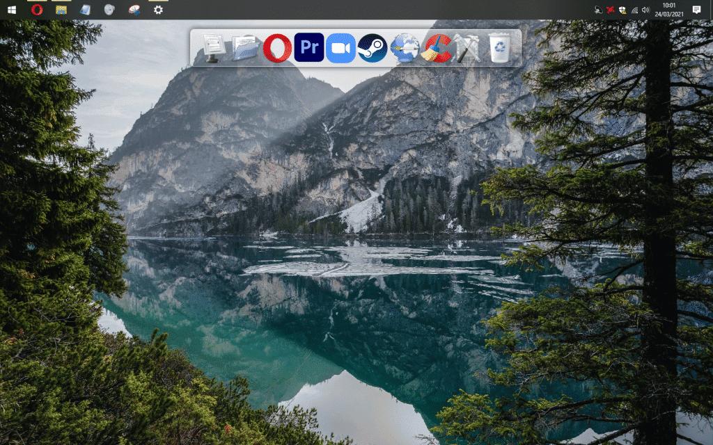 Teste com a barra de tarefas no canto superior da tela