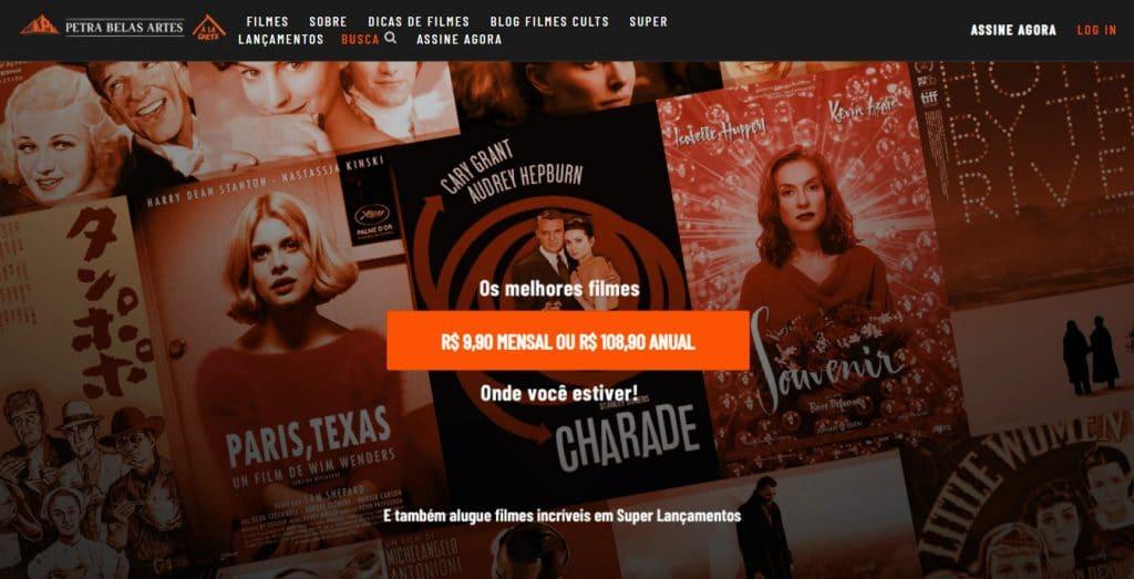tela de entrada do belas artes à la carte para assistir a filmes cult online