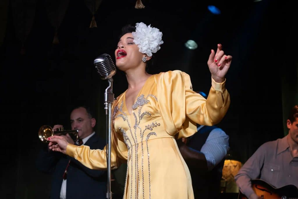 Andra Day em 'The United States vs. Billie Holiday'. Imagem: Paramount Pictures/Divulgação