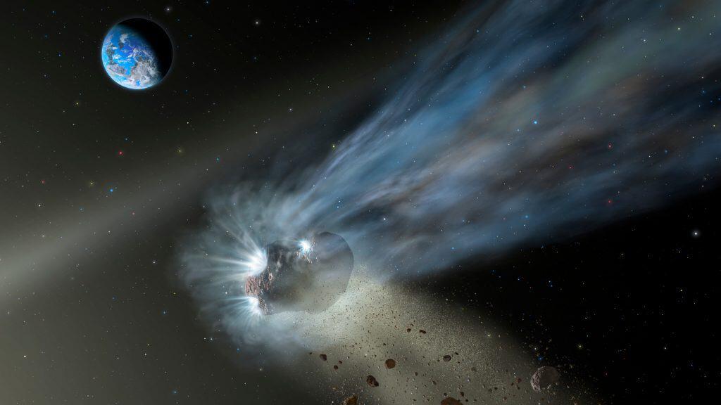 Ilustração de um cometa da nuvem de Oort ao passar pelo sistema solar interno com poeira e gás evaporando em sua cauda.