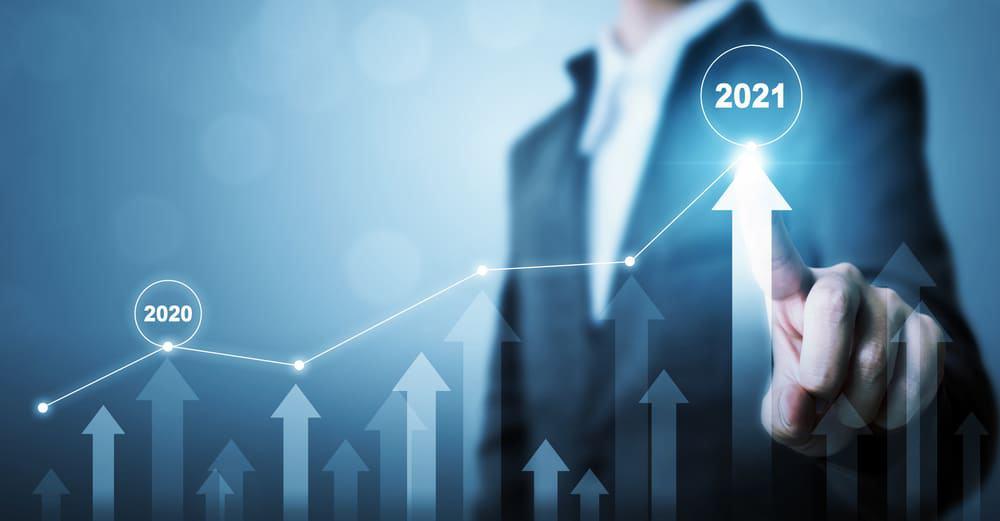 Imagem ilustra, por meio de um gráfico em ascensão, o crescimento de mercado