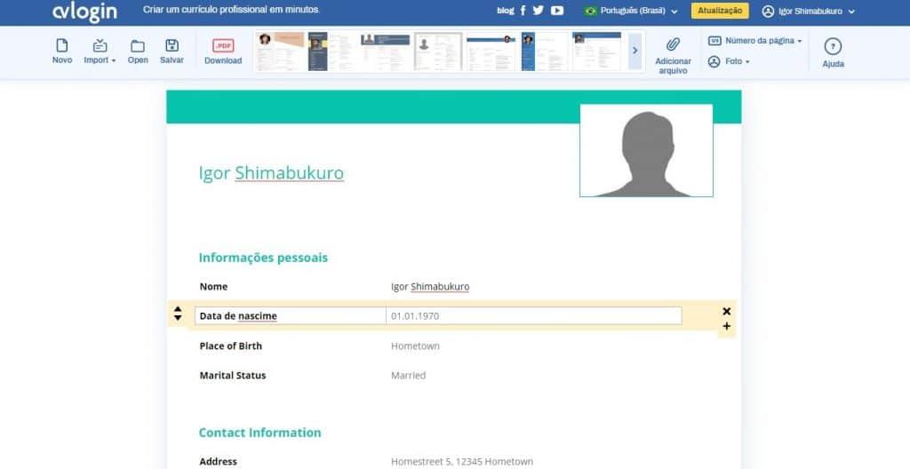 Editando as informações pessoais e profissionais
