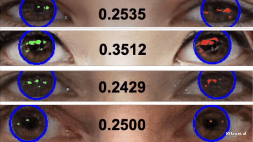Sistema usa IA para detectar deepfakes por meio do reflexo da luz nos olhos dos personagens presentes em vídeos. Imagem: Universidade de Buffalo/Divulgação