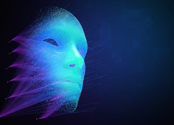 Rosto ou máscara criado digitalmente