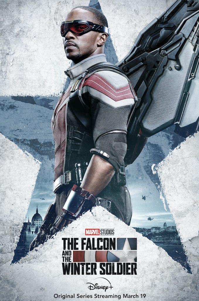 """Pôster da série """"Falcão e Soldado Invernal"""", mostrando o personagem Falcão"""