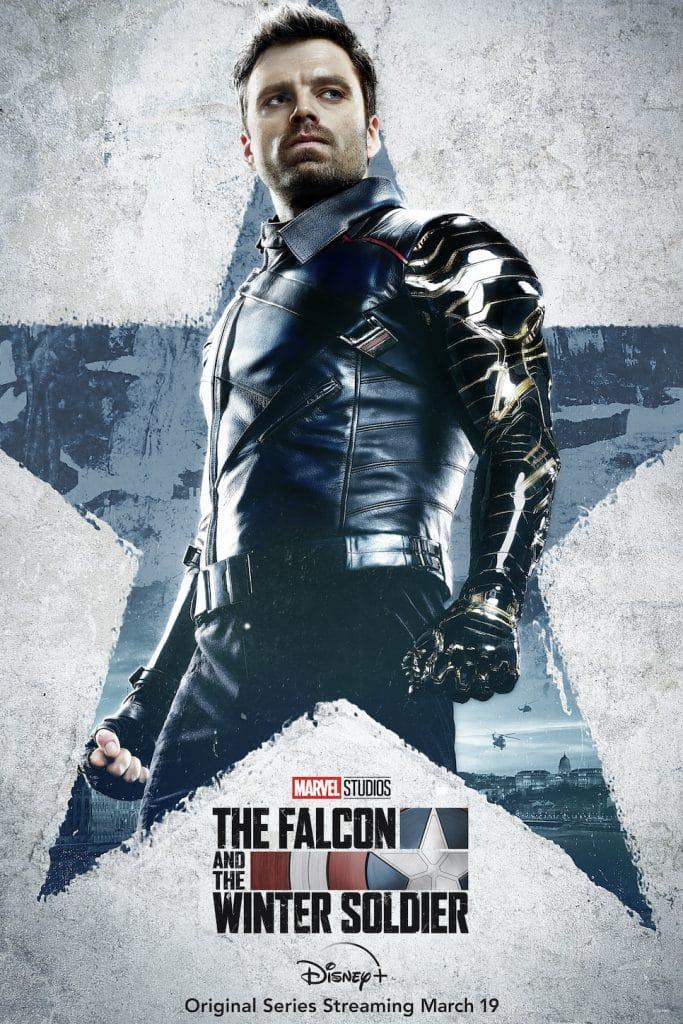 """Pôster da série """"Falcão e Soldado Invernal"""", mostrando o personagem Bucky Barnes/Soldado Invernal"""