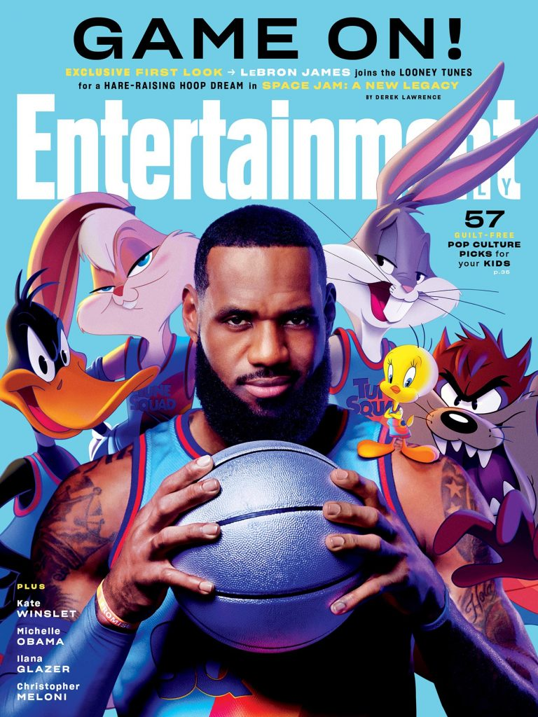 Imagem mostra a revista Entertainment Weekly, cuja nova edição traz, na capa, o astro do basquete LeBron James e os desenhos da Warner Bros.